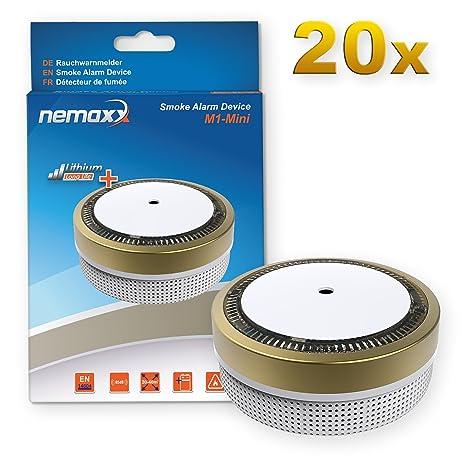 20x Nemaxx Detector de Humo M1-Mini sensibilidad fotoeléctrica - con batería de Litio Tipo