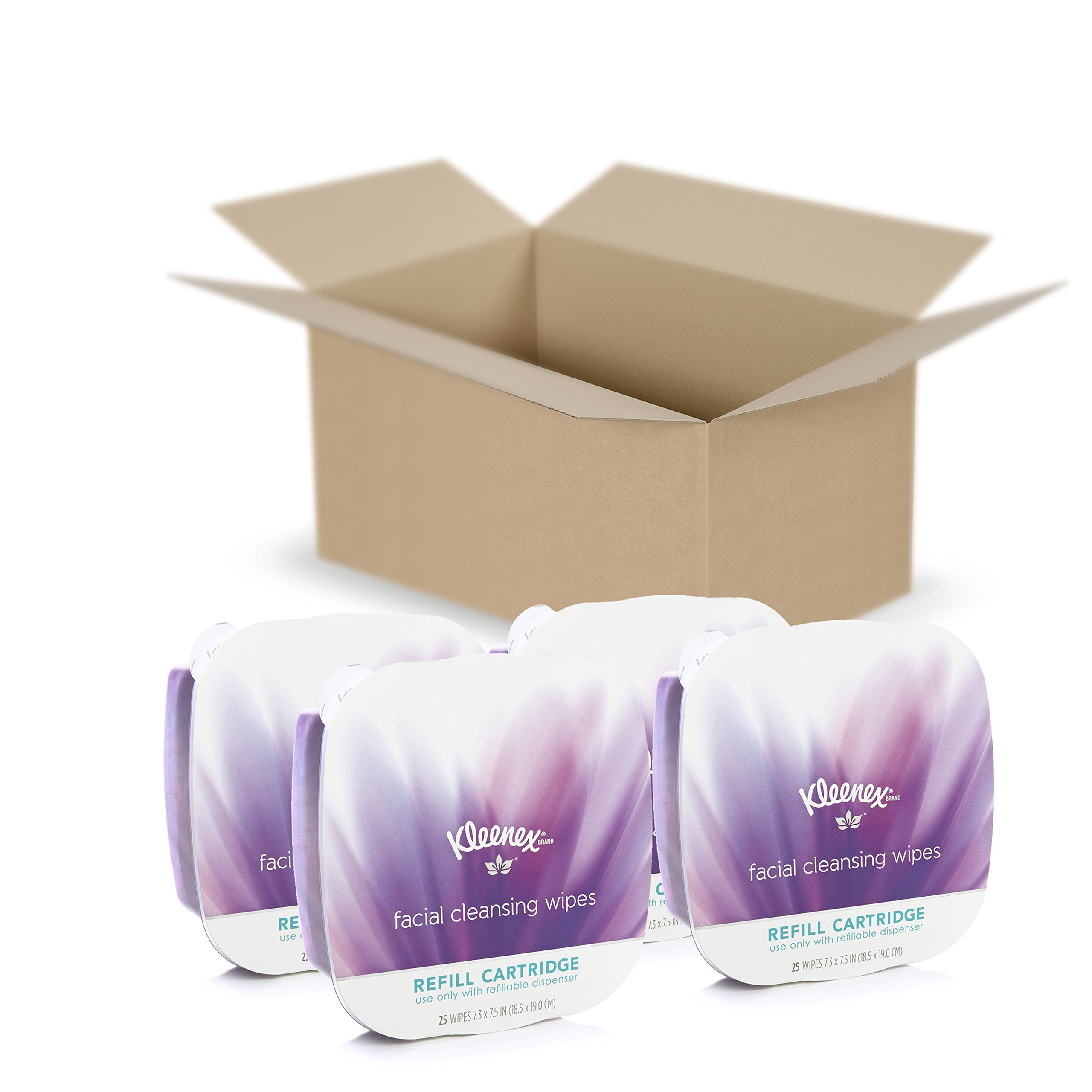 Kleenex Facial Cleansing & Makeup Remover Wipes, 4 Refills, 25 Wet Wipes Per Pack (100 Face Wipes Total)