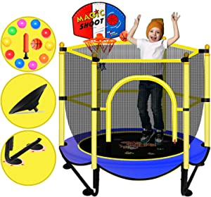 Trampoline for Kids 5 FT Baby Toddler Small Indoor Recreational Trampolines with Net Safety Enclosure Gymnastics Equipment for Home Exercise Mini Rebounder Backyard Games