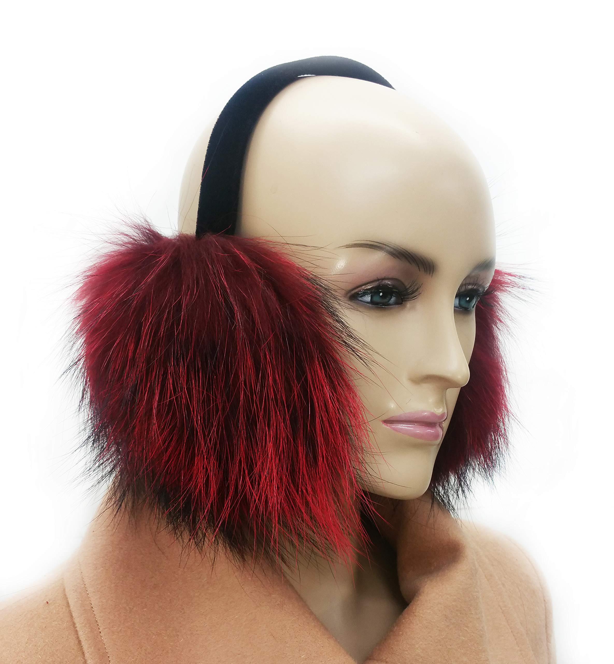Hime Real Raccoon Fur Earmuff (Burgundy)