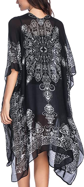 Moss Rose Women S Beach Cover Up Swimsuit Kimono Cardigan With Bohemian Floral Print At Amazon Women S Clothing Store