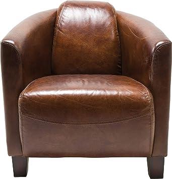 Kare Sessel Cigar Lounge Braunes Echtleder Bequemer Tv Couch