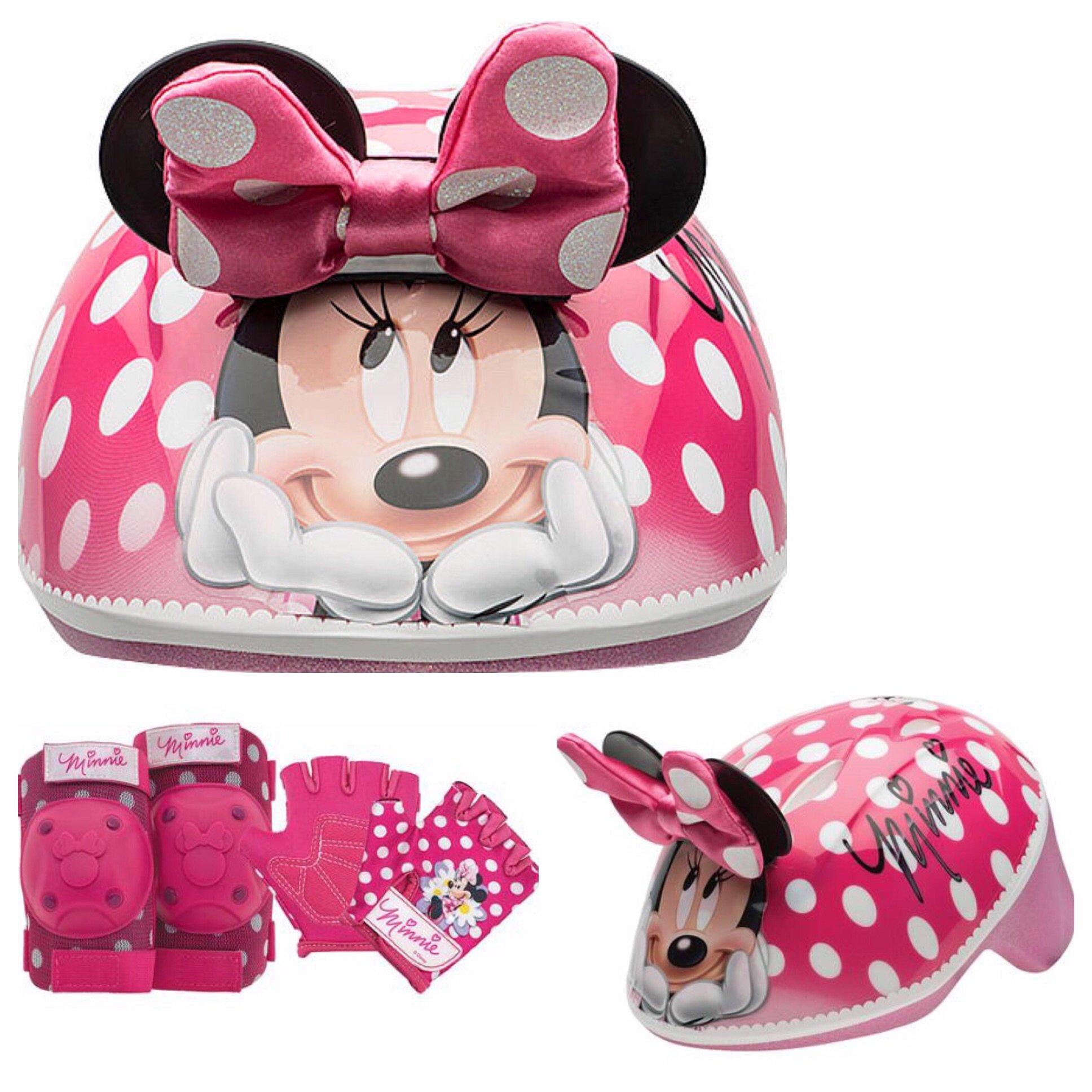 Disney Girls Minnie Mouse Kids Skate / Bike Helmet Pads & Gloves - 7 Piece Set by Disney