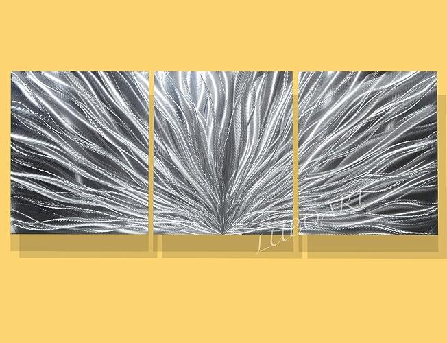 Amazon.com: Modern Abstract Metal art Wall sculpture home office ...