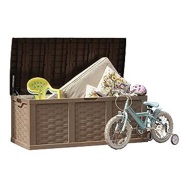 Jumbo XXL diseño de ratán jardín caja de almacenaje, efecto de mimbre al aire libre Patio cubierta pecho con cerradura y fácil de montar: Amazon.es: Jardín