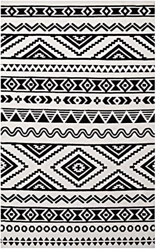 Modway Haku Geometric Moroccan Tribal 8×10 Area Rug With Contemporary Design In Black and White