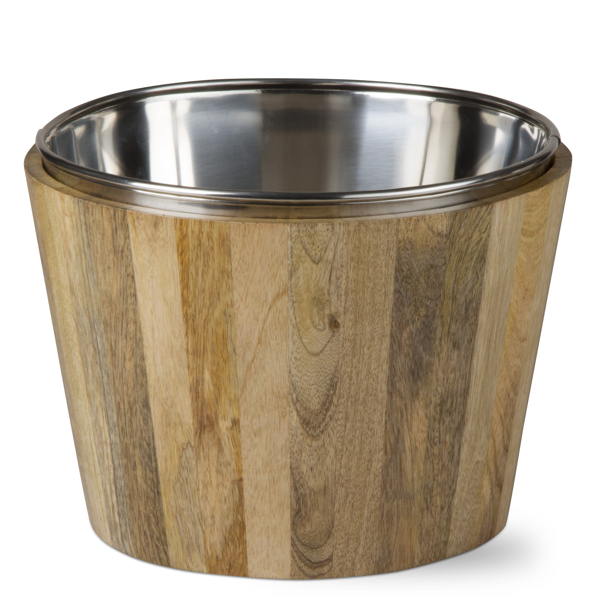 tag - Malaya Wine Bucket, Natural Mango Wood Barware Ideal for Parties and Events, Natural (9.25'' x 13'' Dia.)