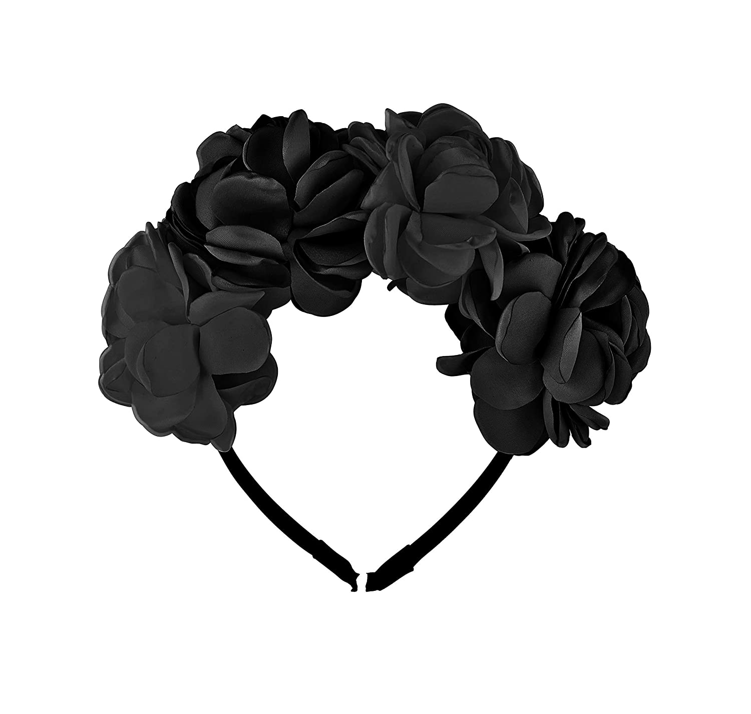 Be Unique Bowtique, Black Rose Petal Flower Hard Headband with Teeth for Girls Holiday Party Photos