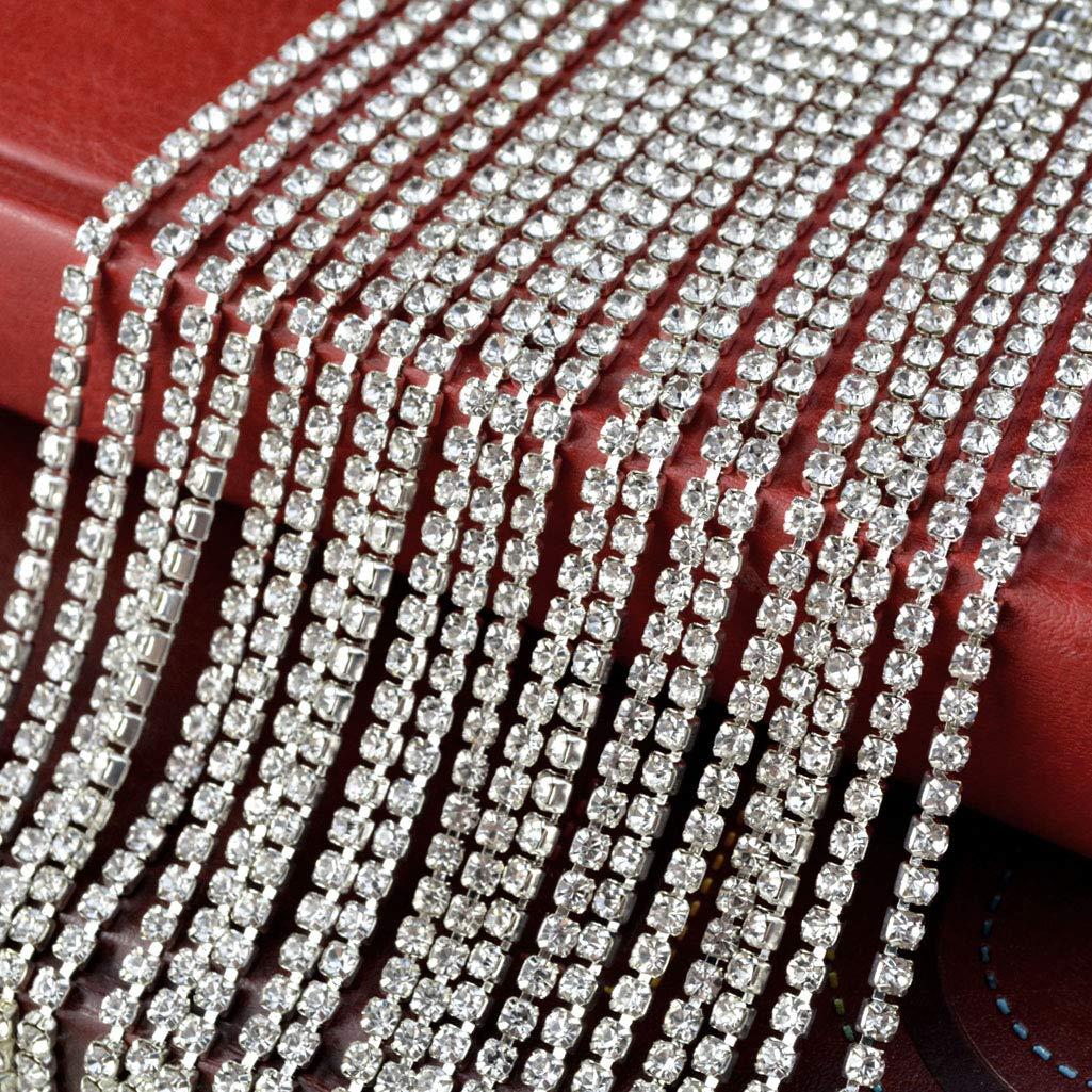 Silver Yookat 21 Yard Crystal Rhinestone Chain Crystal Rhinestone Close Chain Trim Sewing Rhinestone Chain for Crafts DIY Wedding Decorations 2.5MM