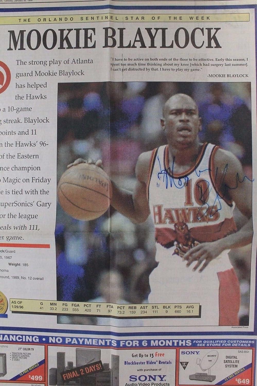 eeb65b2aed1 Mookie Blaylock Atlanta Hawks Oklahoma Autographed Signed 1996 Newspaper  16I at Amazon s Sports Collectibles Store