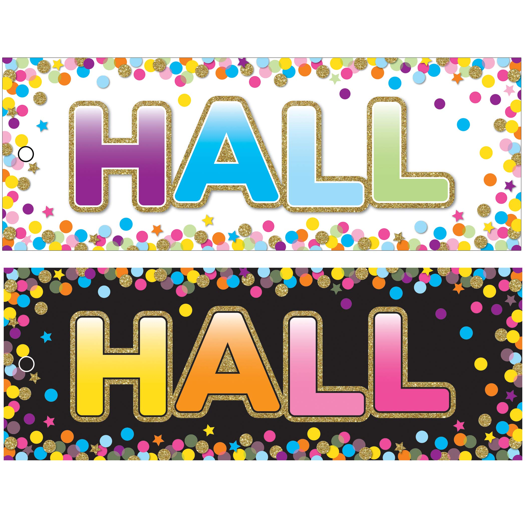 Ashley Productions ASH10749BN Laminated Double-Sided Hall Passes, 9'' x 3.5'', Confetti Hall Pass, Pack of 10