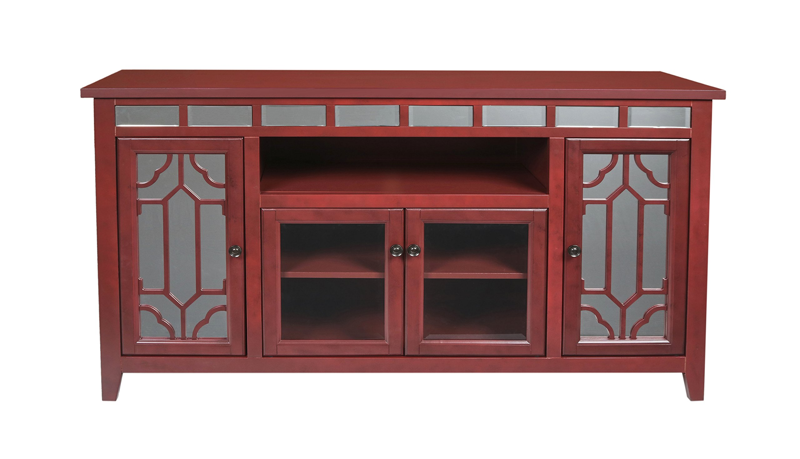 New Classic Furniture T1017-60-RED Gable Entertainment Unit, 60-inch, Red by New Classic Furniture