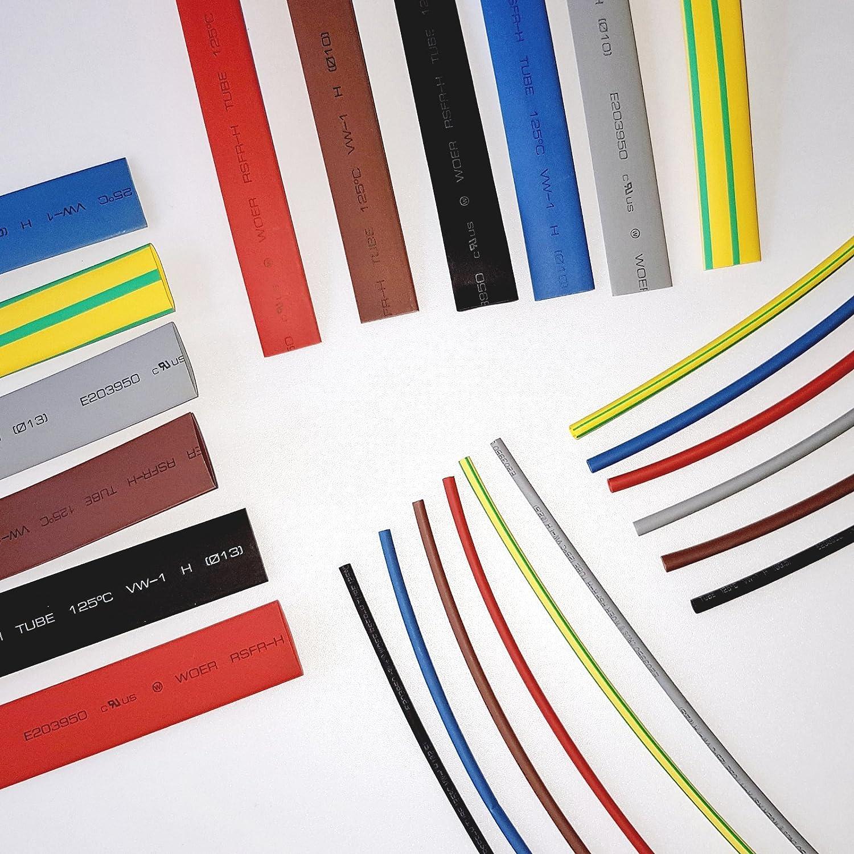 6m Heat Shrink Tubing 2:1 Ratio Heatshrink Tube Sleeve Sleeving Wrap Cable Flex Colour 6 x 1 Meter of 2.4mm, 3.2mm, 9.5mm, 12.7mm 6 x 1meter (2.4mm 3.2mm 9.5mm 12.7mm All in one Pack) CableTidy