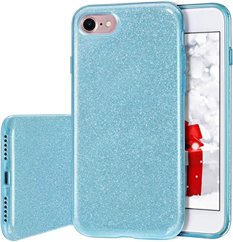 MILPROX Cover iPhone 8, iPhone 7 glitter shiny bling Slim Crystal Clear TPU Bling Glitter Paper Frosted PC Shell Protettiva Custodia per iPhone 7/8 - ...