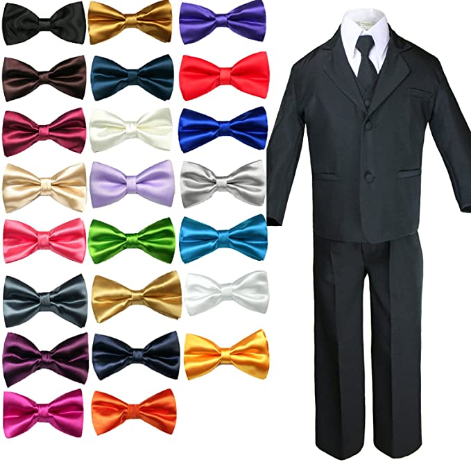 c4ad02bff7dc Unotux 6pc Formal Boy BLACK Tuxedo Suit w/Satin COLORS Bow tie from Baby Boy