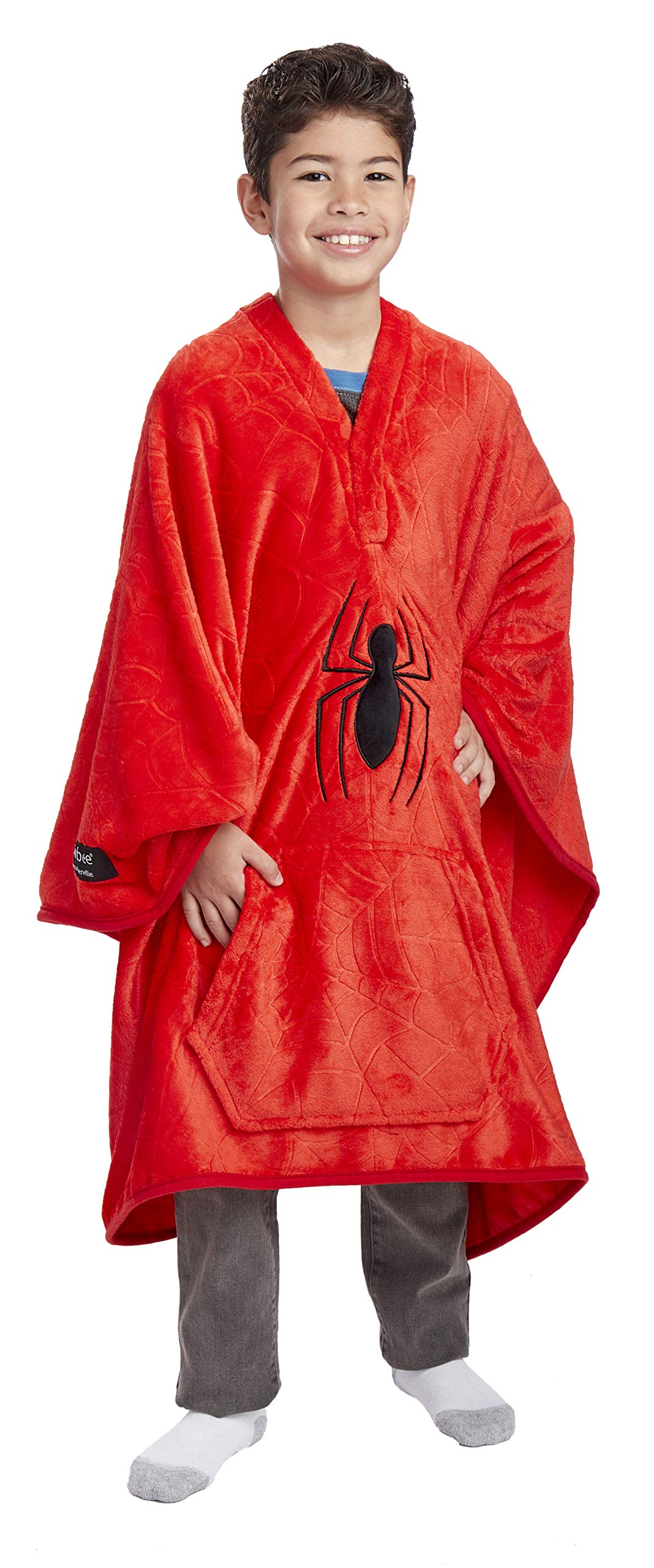 Jay Franco Marvel Spiderman Spider Web Throwbee - 2-in-1 Wearable Kids Plush Throw Blanket Poncho - Fade Resistant Polyester, 50'' x 60'' - (Offical Marvel Product) by Jay Franco