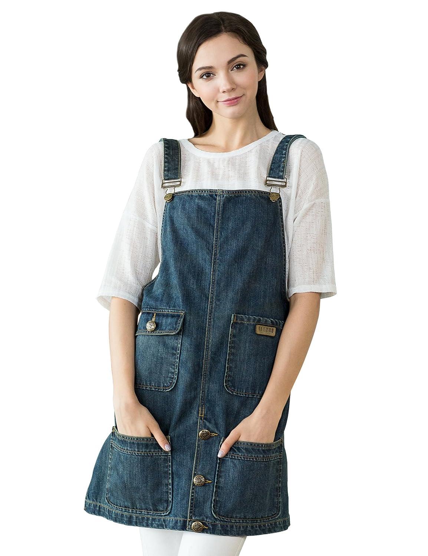 Vantoo Denim Cobbler Bib Apron for Women Men-Cross Back Straps & 4 Pockets-Furcal Design for Cooking Crafting Gardening, Gifts for Mom,Navy Blue