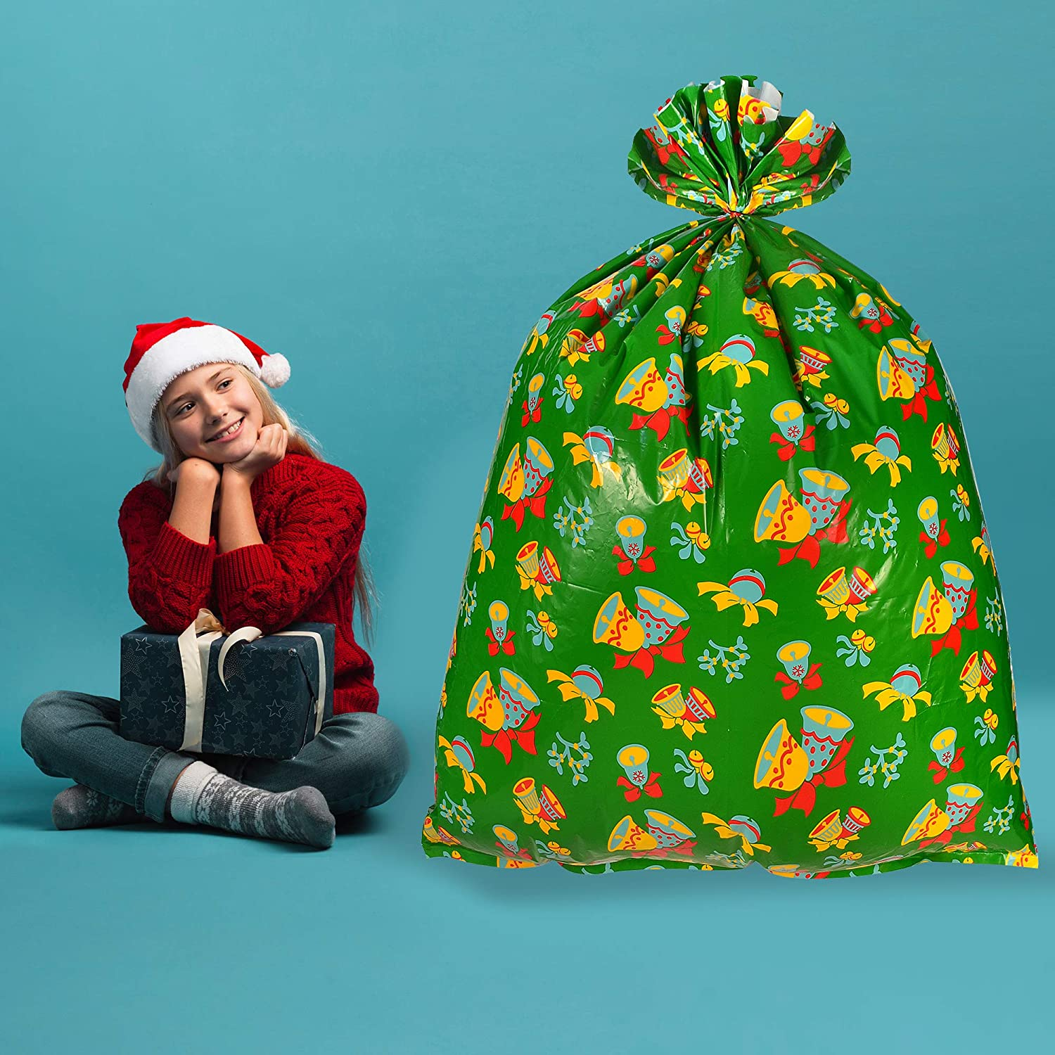 """Heavy Duty Party Favor Supplies Jumbo Size 43/"""" X 36/"""" Oversize Xmas Gifts W//Tie /& Name Card Assortment for Holiday Treats Christmas Goodie Large Bags 6 Pieces Christmas Giant Goody Gift Bags"""