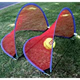 Set of Two (2) Portable Pop Up Foldable Soccer Goals Child Soccer Nets, 4 Foot / 1.1 Meters, Blue Trim