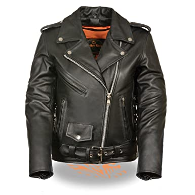 322976f69680 Amazon.com  LC2700 Ladies Black Classic MC Premium Leather Jacket-Side  Laces  Clothing