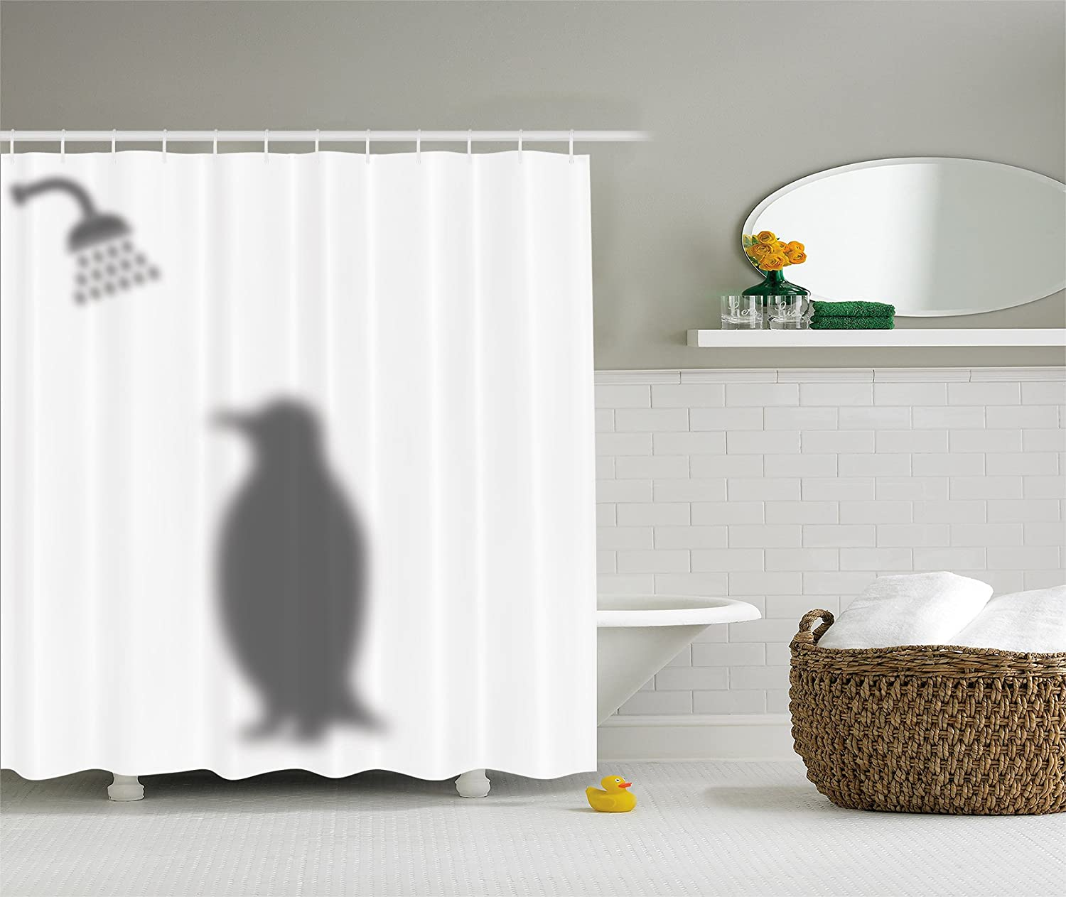 Amazon.com: Animals Decor Funny Shower Curtain by Ambesonne, Penguin Shadow Fun  Funny Shower Curtain Fabric with Hooks 69 X 70 Inches White Gray: Home & ...