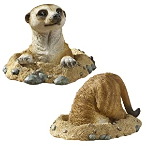 Design Toscano Kalahari Meerkat Garden Animal Statues, 10 Inch, Set of Two Into and Out of, Polyresin, Full Color