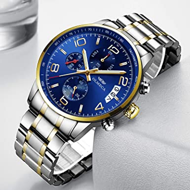 Amazon.com: OLMECA Mens Watches Luxury Waterproof Fashion Quartz Women Watches Chronograph Stainless Steel Band Wristwatches for Men 0831M-JJLMgd: Watches