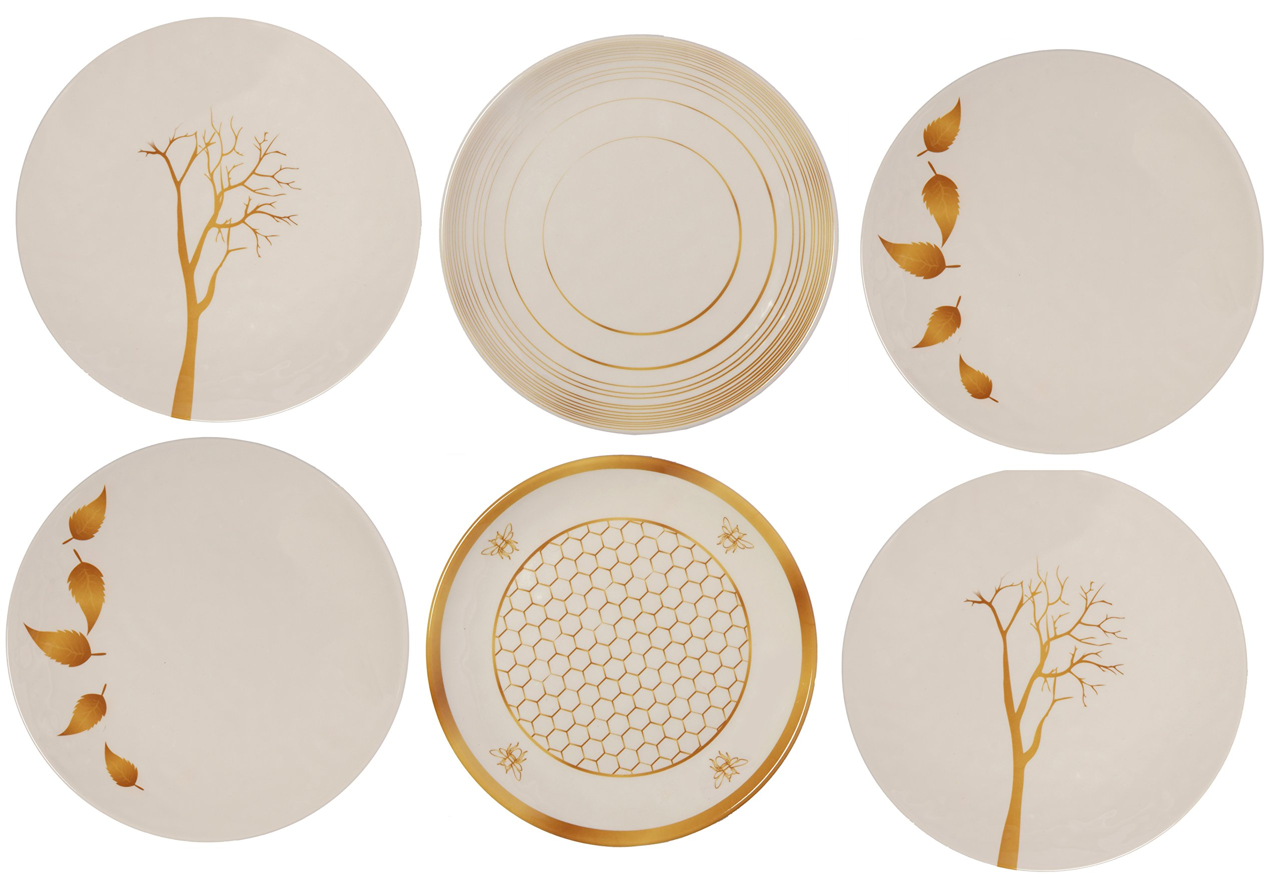Melange 6-Piece 100% Melamine Salad Plate Set (Gold Nature Collection) | Shatter-Proof and Chip-Resistant Melamine Salad Plates