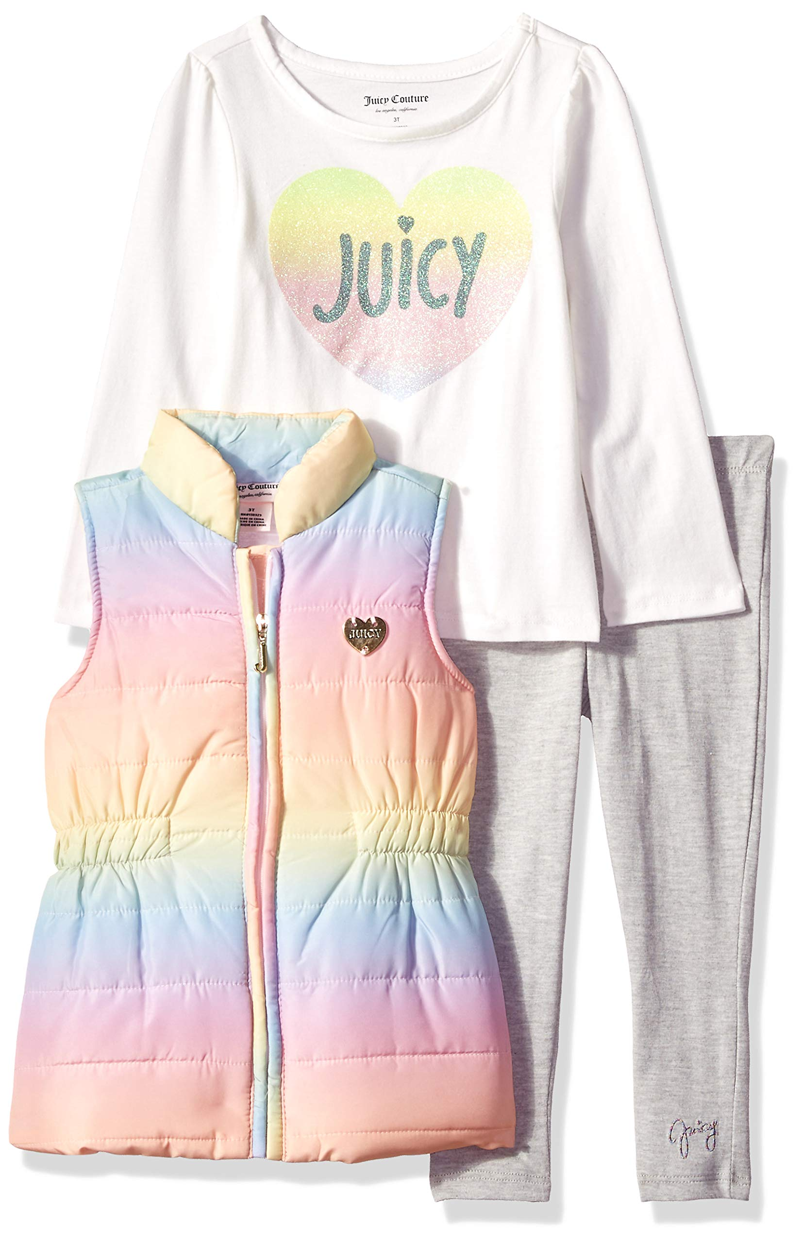 Juicy Couture Girls' Toddler 3 Pieces Puff Vest Set, Multi Color/Gray, 2T
