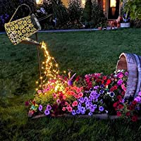 Watering Can with Lights, Large Solar Lanterns Outdoor Hanging Waterproof, Decorative Retro Metal Solar Lights for Table…