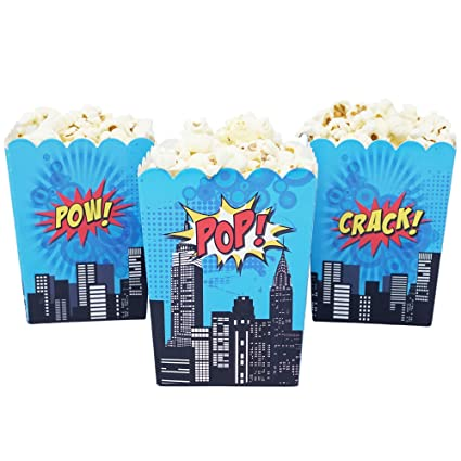 Mini Superhero Theme Birthday Party Popcorn Favor Boxes 10 Count Red Yellow Blue Super Hero Colors