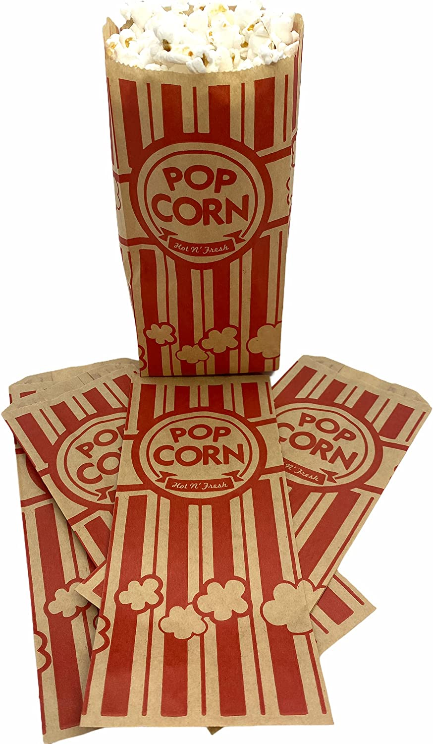 Home Craft Red Retro Style Popcorn Bags and Durable Material   Eco Friendly, Disposable and Recyclable   Perfect for Any Popcorn Machine   Great for Any Occasion