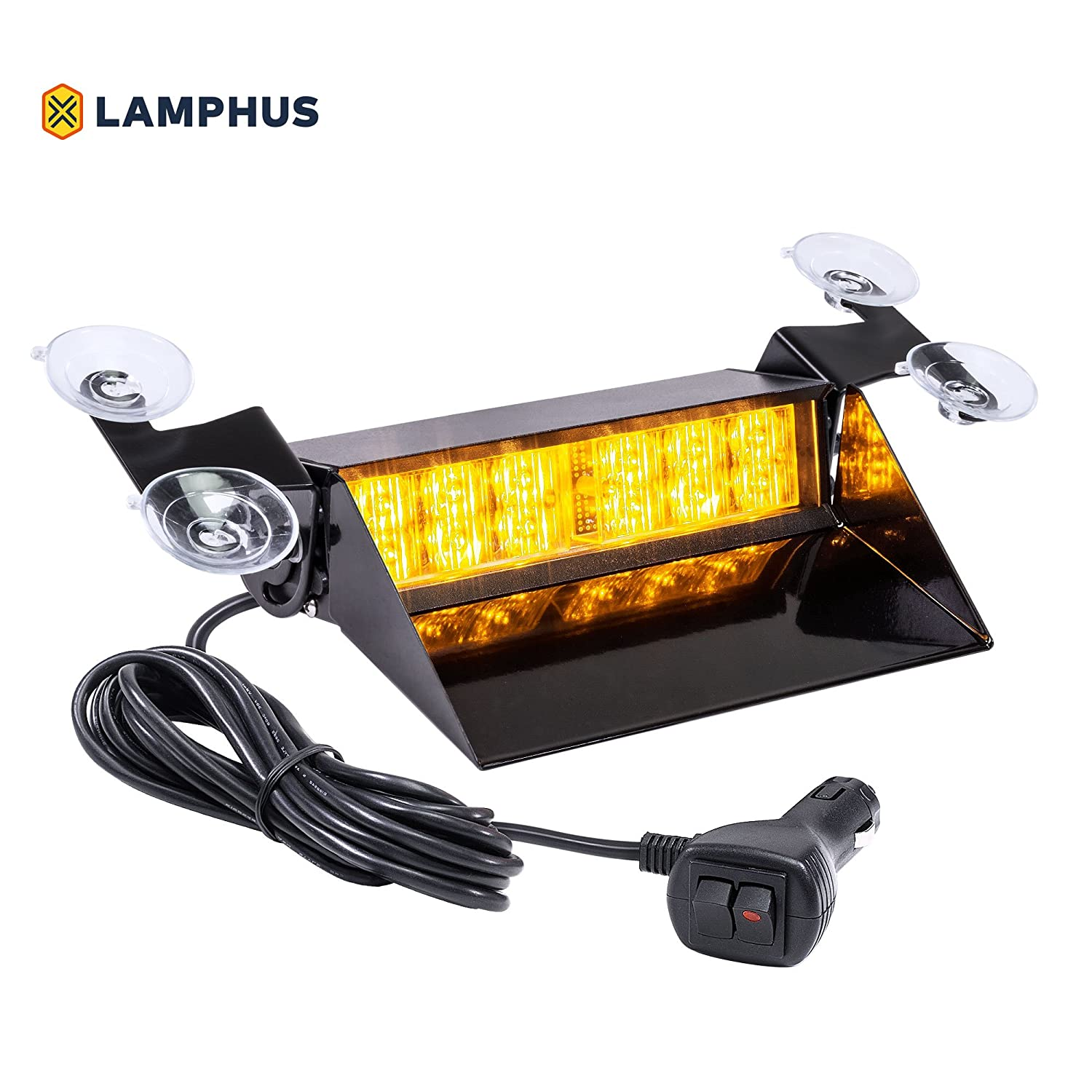 LAMPHUS SolarBlast SBWL26 Emergency Vehicle LED Dash Light [12W LED] [32 Flash Patterns] [Adjustable Mounting] [Multiple Colors Available] - Strobe Light for Dash, Deck & Windshield - Amber
