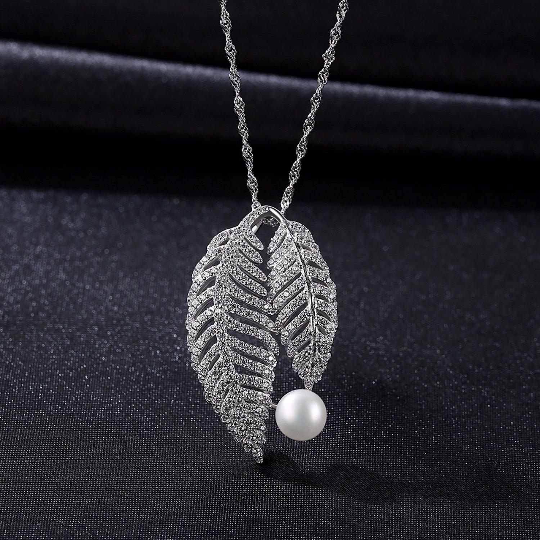MMC Pearl Leaf Shape Silver Pendants Necklaces