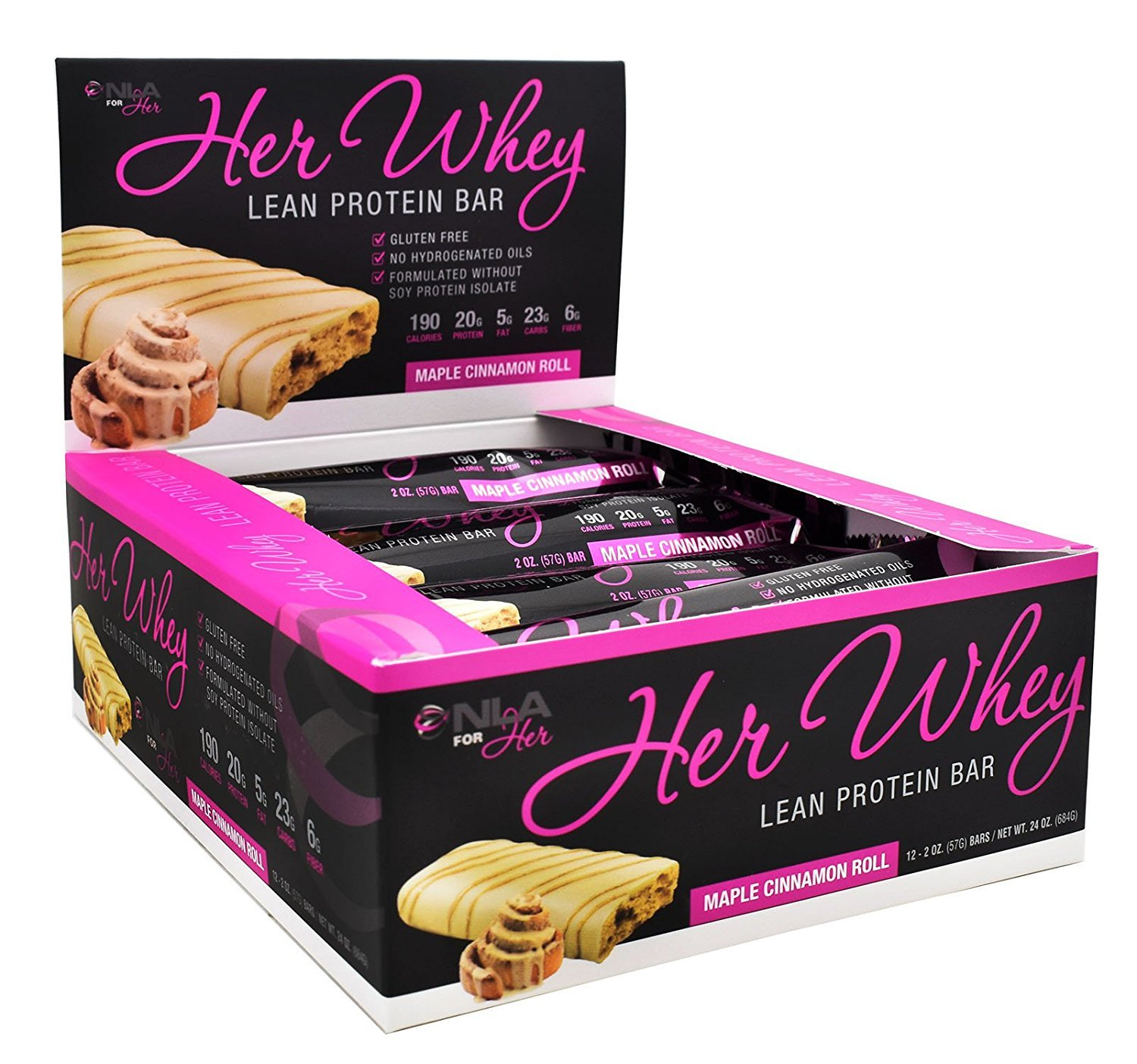 NLA for Her - Her Whey Lean Protein Bar - 20g of Protein, Gluten Free, Low Fat, Low Net Carbohydrates, Great Taste - Maple Cinnamon Roll - 12 Count Box by NLA for Her