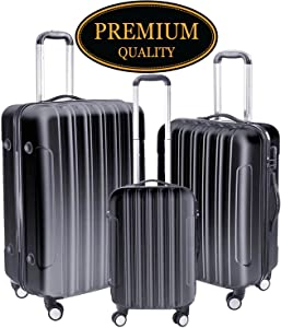 "GC Global Direct 3Pcs Luggage Travel Set Bag ABS+PC 4 Wheels Trolley Suitcase Code Lock 20""/24""/28"""
