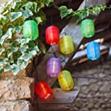Guirlande Lumineuse LED Solaire avec 10 Lampions Chinois Ovales Multicolores de Lights4fun