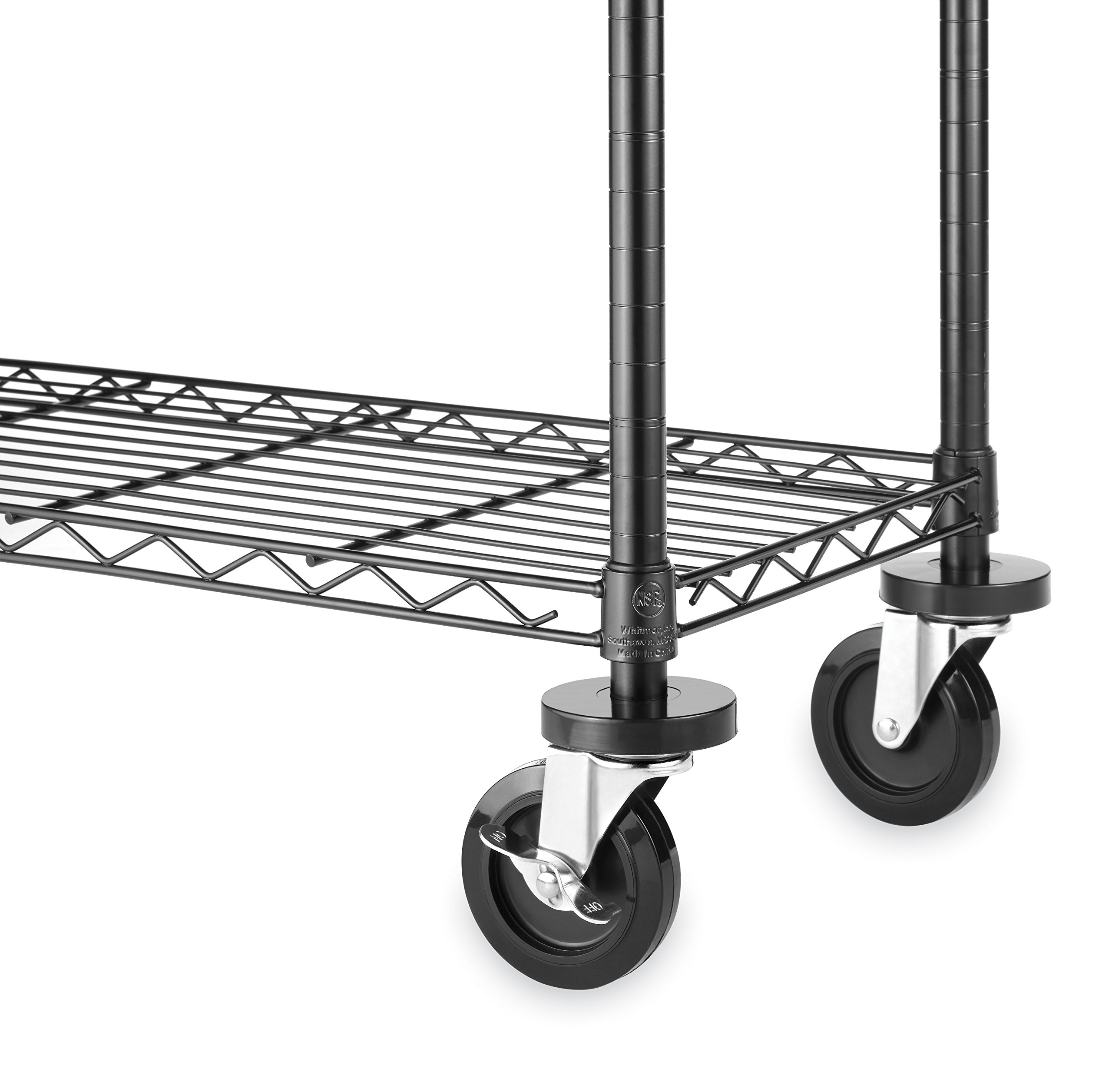 Whitmor Wheels Supreme Shelving Units - Heavy Duty Supports Up to 500 Pounds (Set of 4)