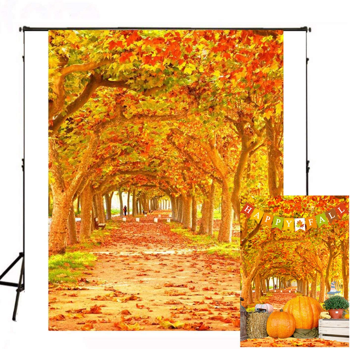 Phoenix Tree Backdrop Autumn Scenery Romantic Road Landscape Covered by Falling Leaves Photography Backdrop Orange Color 5x7ft BT022