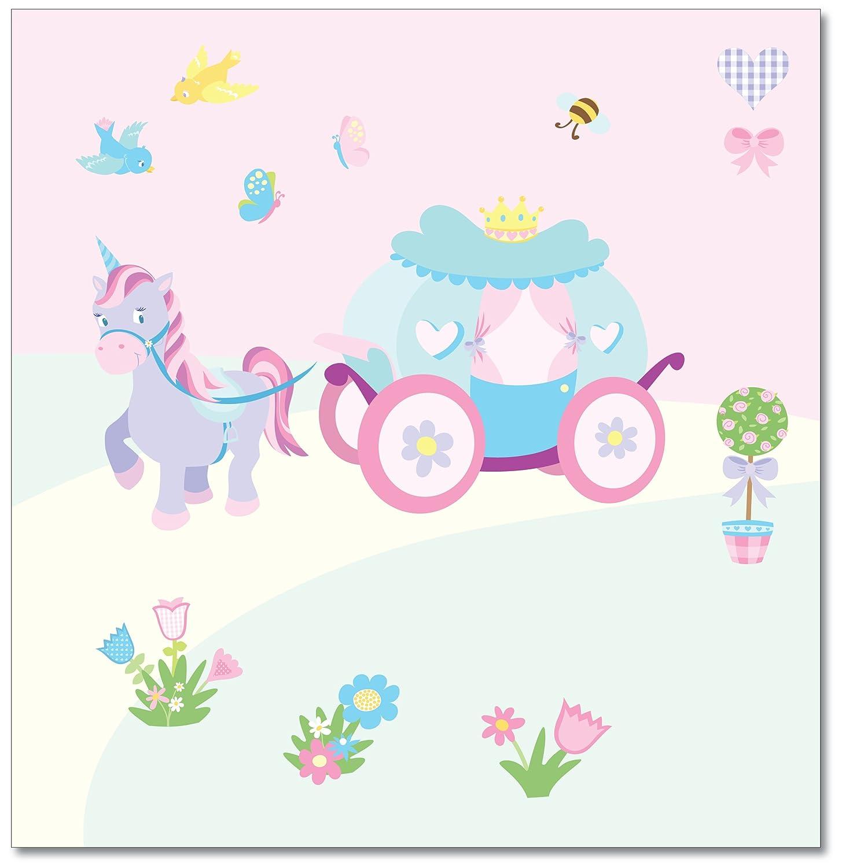 princess girl s nursery and bedroom wall stickers carriage and princess girl s nursery and bedroom wall stickers carriage and unicorn mural amazon co uk baby