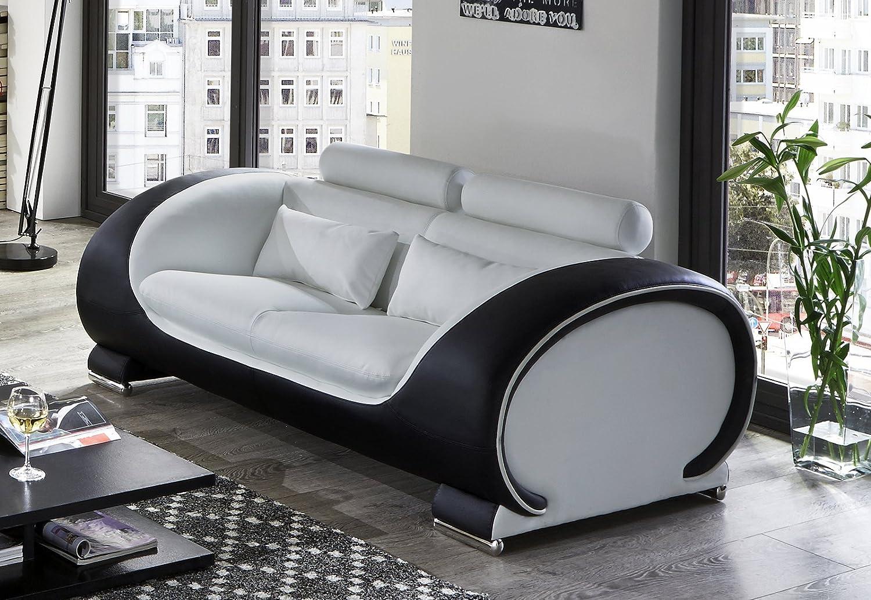 SAM 2-Sitzer Sofa Vigo, weiß/schwarz, Couch aus Kunstleder: Amazon ...
