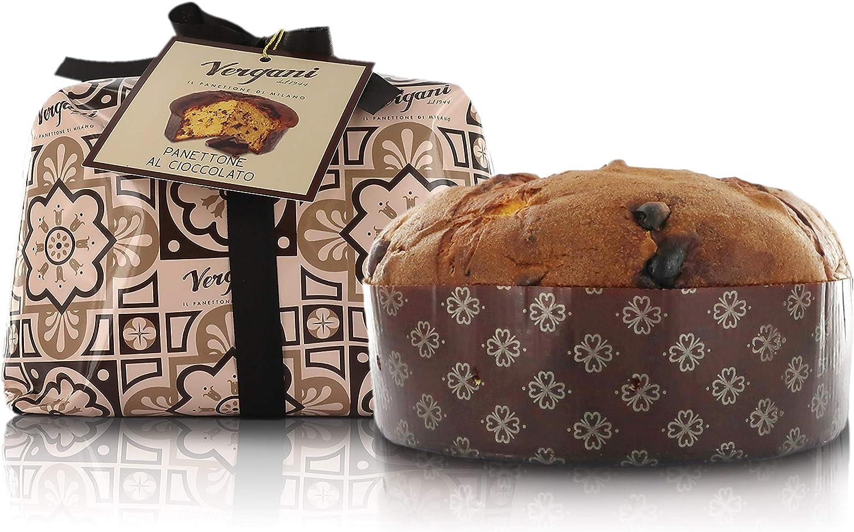 Vergani Dark Chocolate Chip Panettone, Hand-Wrapped, Italian Traditional Recipe - 1kg / 2lb 3.2oz