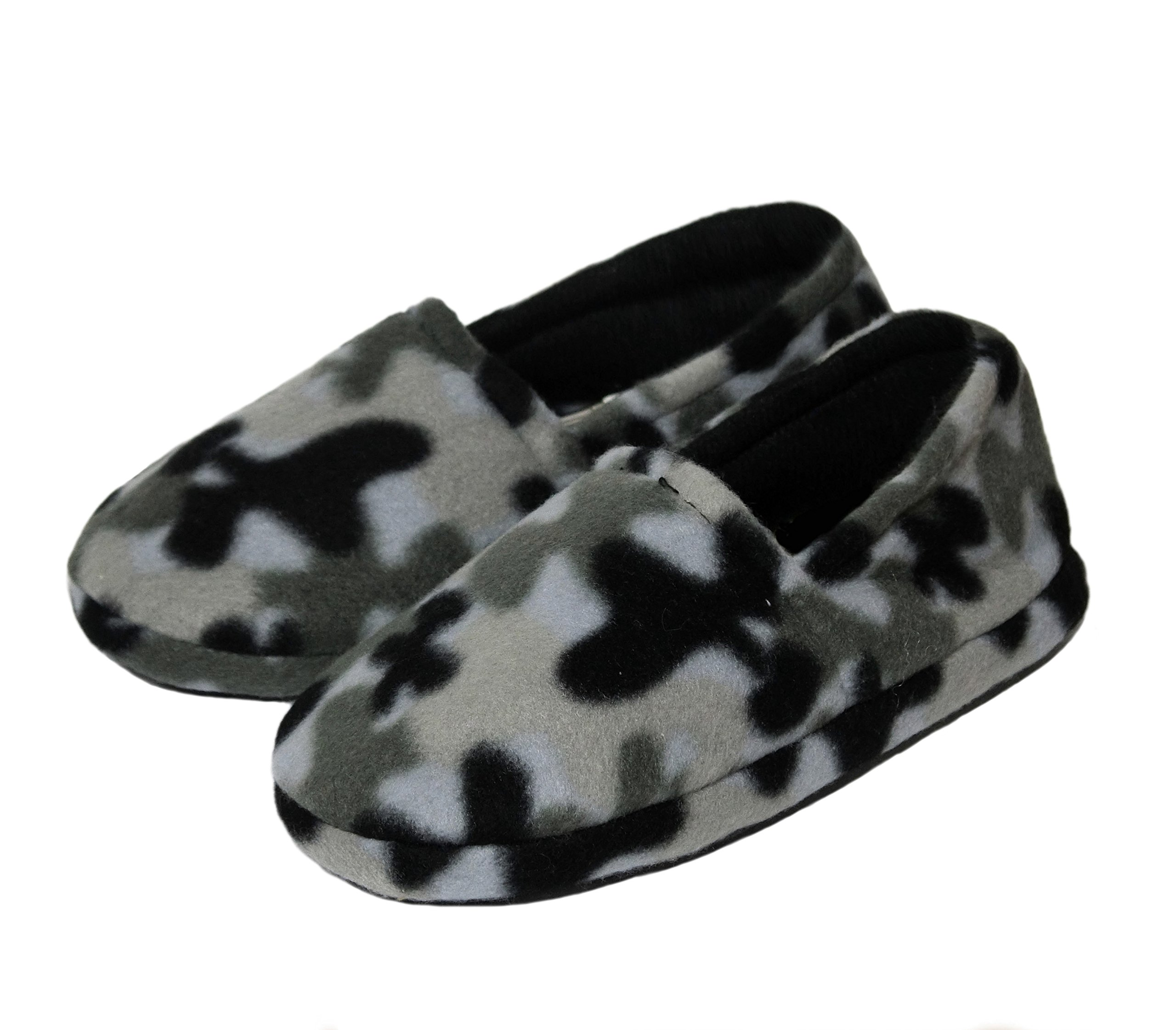 Onmygogo Boys Camouflage Fleece Indoor Slippers (Size L (Kid Size 1-2), Grey)
