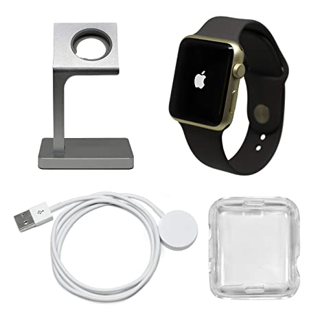 Apple Watch Series 1 Smartwatch Plus Charging Stand, Extra Charging Cable and Clear Fitted Protective Case (42mm, Gold Aluminum Case, Cocoa Sport ...