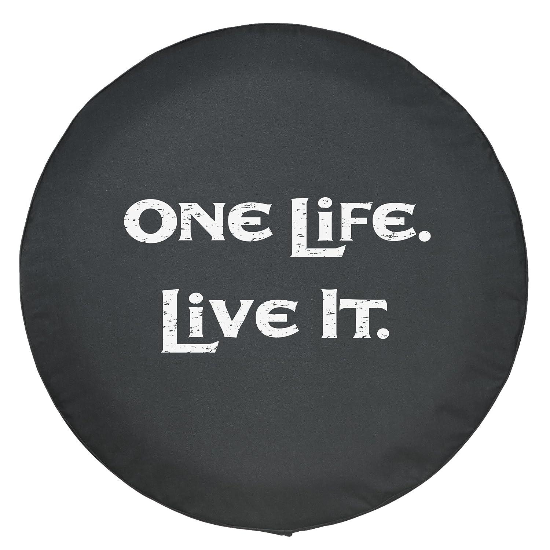 White Print 32 One Life Live It Spare Tire Cover - Black Denim ...