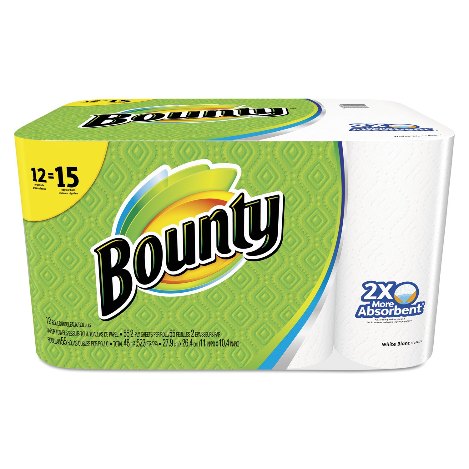 Bounty 88197 Perforated Towel Rolls, 11'' x 10-2/5'', White (Pack of 12) by Bounty