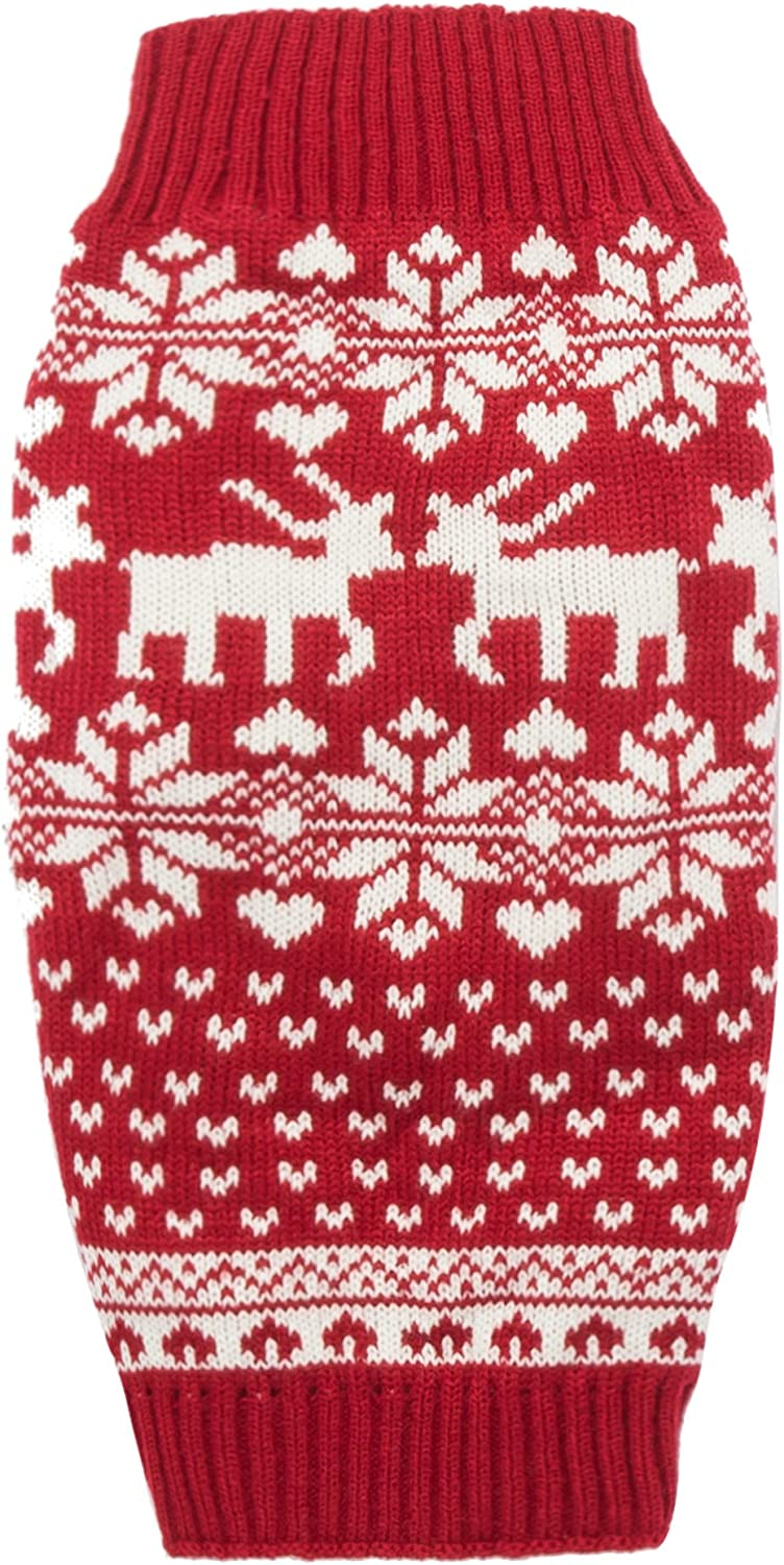 PanDaDa Dog Jumper Christmas Knitwear Sweater Dog Outfits Knitted with Snowflakes Xmas Tree Hat for XS S XXL Dogs XL M L