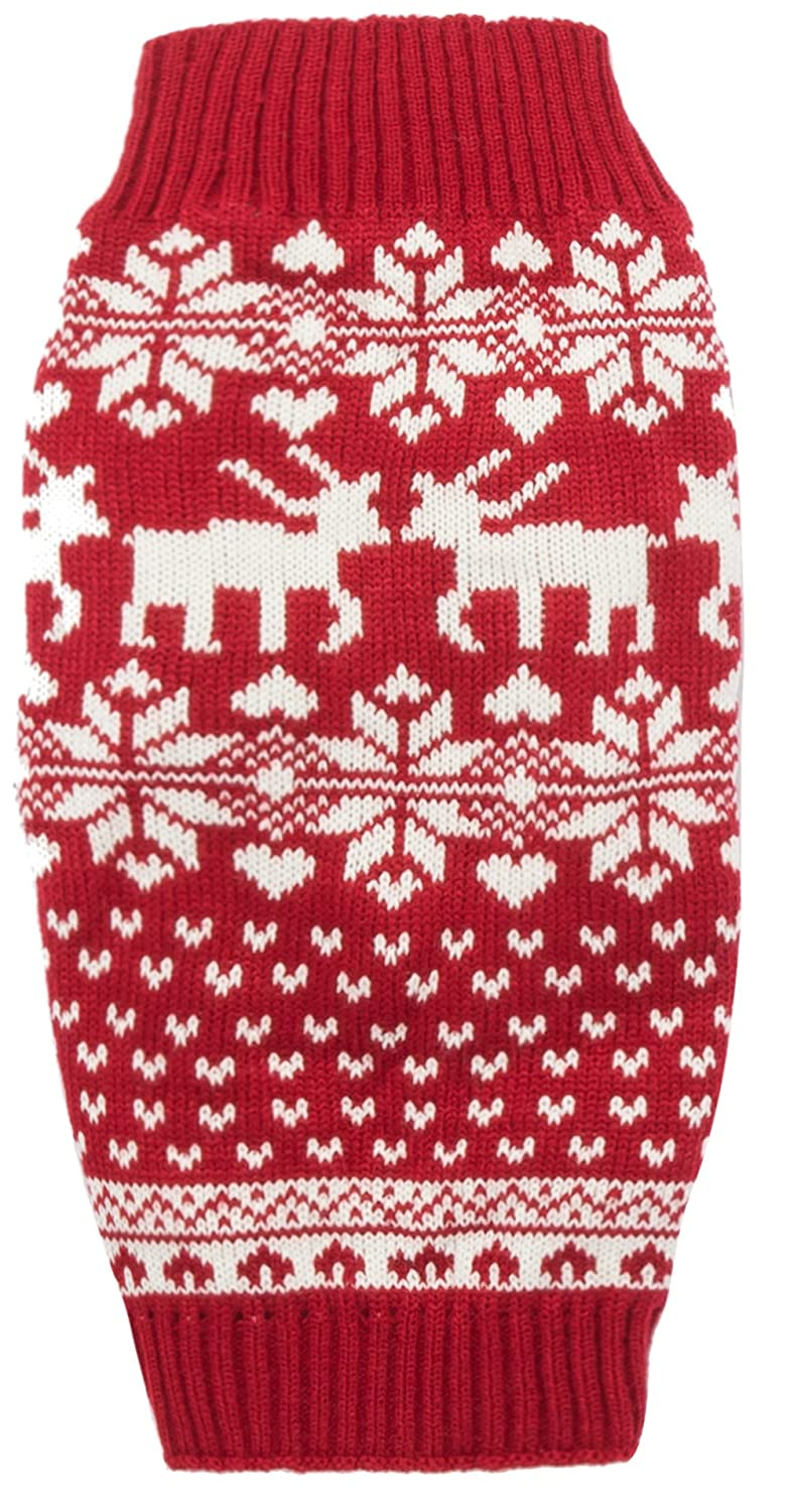 Red Christmas Reindeer Holiday Festive Dog Sweater for Small Dogs Small (S) Size