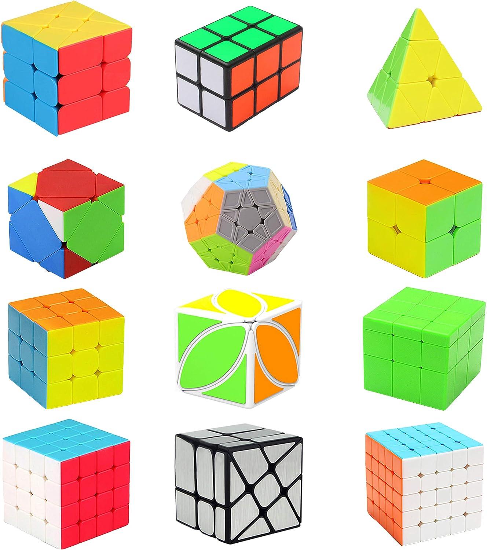 HJXDtech Speed Magic Cube Set, 2x2 3x3 4x4 Rueda de Espejo Cube Pyramid Cube 2x2x3 Cube Megaminx Dodecahedron Cube Skewb y Leaf Cube Puzzle Paquete (Paquete de 12) (12): Amazon.es: Juguetes y