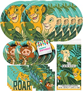 Hello Party! Lion King Dinnerware Bundle Party Pack Supplies - 16 Luncheon Napkins, 16 Beverage Napkins, 8 Dinner Plates, 8 Dessert Plates, Tableware, for Kid's Birthday Party, Cartoon Themed Event